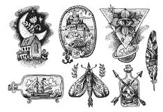 Tattoo element sketch. Hand drwan sketch illustration. Tattoo style. Us for Invitations, flyers, postcards, smartphone covers etc stock illustration