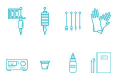 Tattoo Equipment Icon Set Royalty Free Stock Photo