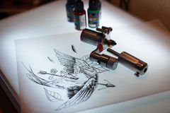 Tattoo equipment and scetch Royalty Free Stock Images