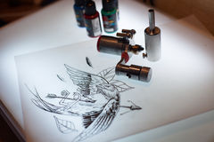 Tattoo equipment and scetch. Was prepared for making tattoo in salon Royalty Free Stock Images