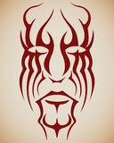 Tattoo Face. Abstracted human face in tribal, tattoo style Royalty Free Stock Photo