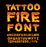 Tattoo Fire font. Flame Alphabet. Fiery letters. Burning ABC. Ho Stock Images