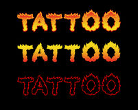 Tattoo fire letters. Flame lettering. Comics font.  Royalty Free Stock Photography