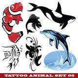 Tattoo fish. Vector set: templates Fish for tattoo and design on different topics Royalty Free Stock Images
