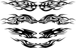 Tattoo Flame Set. Variation of tribal wing tattoo designs Royalty Free Stock Photos