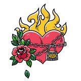 Tattoo flaming heart bound by chains of love. Burning heart with rose. Tattoo heart in fetters of love.Old school styled. Tattoo flaming heart bound by chains of Royalty Free Stock Photo
