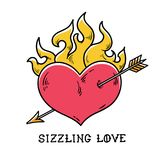 Tattoo flaming heart pierced by gold arrow. Sizzling love. Red burning heart. Passionate heart. Old-school styled tattoo. Of flaming heart Royalty Free Stock Photos