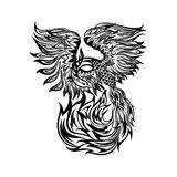 Tattoo with flaming phoenix in doodle tribal style. hand drawn stylized illustration. phoenix flight, original artwork. Isolated black lines on white Stock Images