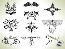 Tattoo flash design elements Royalty Free Stock Images