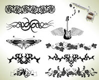 Tattoo flash design elements Royalty Free Stock Photos