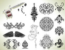 Tattoo flash design elements Stock Photography