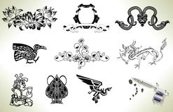 Tattoo flash design elements. Series set of tattoo flash design elements with tattooists gun or machine stock illustration