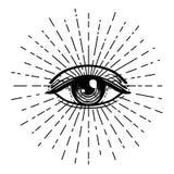 Tattoo flash. Eye of Providence. Masonic symbol. All seeing eye. Blackwork tattoo flash. Eye of Providence. Masonic symbol. All seeing eye inside triangle royalty free illustration