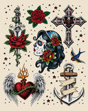 Tattoo Flash Illustration Set Royalty Free Stock Photography
