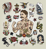 Tattoo Flash Set. Tattoo Hipster Man And Various Tattoo Images. Stock Images