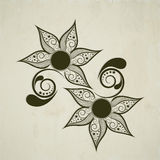 Tattoo of floral decorated black design. Royalty Free Stock Photography