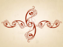 Tattoo of floral decorated brown design. Stock Image