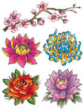 Tattoo Flower Set. A set of various tattoo style flowers Stock Images