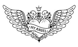 Tattoo flying heart with crown and forged ornament.Tattoo heart with wings, ribbon and flowers. MY ANGEL.Black and white. Tattoo flying heart with crown and stock illustration