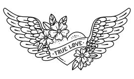 Tattoo flying heart with wings. Tattoo heart with ribbon and flowers. TRUE LOVE. Black and white illustration. Hand drawn tattoo flying heart with wings. Tattoo Stock Photos