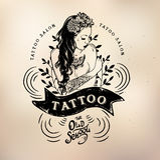 Tattoo girl old school studio skull. Vector tattoo studio logo templates on dark background. Cool retro styled vector emblems Stock Images