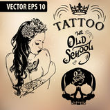 Tattoo girl old school studio skull Royalty Free Stock Image