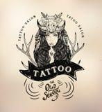 Tattoo girl old school studio skull. Vector tattoo studio logo templates on dark background. Cool retro styled vector emblems Stock Photo