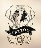 Tattoo girl old school studio skull. Vector tattoo studio logo templates on dark background. Cool retro styled vector emblems Royalty Free Stock Photo