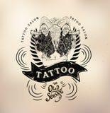 Tattoo girl old school studio skull. Vector tattoo studio logo templates on dark background. Cool retro styled vector emblems Stock Image