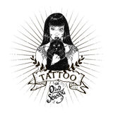 Tattoo girl old school studio skull Royalty Free Stock Images