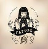 Tattoo girl old school studio skull. Vector tattoo studio logo templates on dark background. Cool retro styled vector emblems Stock Photography