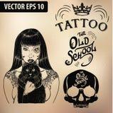 Tattoo girl old school studio skull. Vector tattoo studio logo templates on dark background. Cool retro styled vector emblems Royalty Free Stock Image