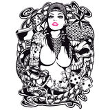 Tattoo Girl Shirt Design. Tattoo girl t-shirt or poster print design Stock Photography