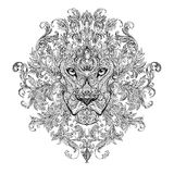 Tattoo, graphics head of a lion with a mane. Of black and white graphics on a white background with floral ornaments Royalty Free Stock Photo