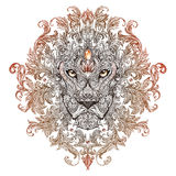 Tattoo, graphics head of a lion with a mane. Of black and white graphics on a white background with floral ornaments Stock Photography