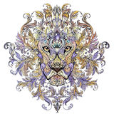 Tattoo, graphics head of a lion with a mane. Of black and white graphics on a white background with floral ornaments Royalty Free Stock Images