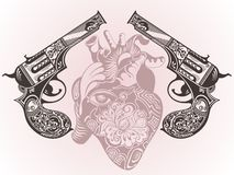 Tattoo guns with heart Stock Photo