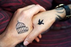 Tattoo, Hand, Hands, Couple Stock Photo