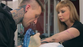 Tattoo on a hand stock footage