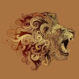 Tattoo head grinning lion Stock Photography