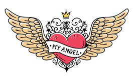 Tattoo heart with crown and forged ornament.Tattoo heart with wings, ribbon and flowers.Tattoo with phrase MY ANGEL Royalty Free Stock Images