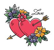 Tattoo heart with arrow. Two hearts pierced by arrow with flowers. Love. Old school tattoo. Valentines Day illustration Stock Photos