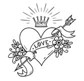 Tattoo heart pierced by arrow with crown, ribbon. Tattoo heart pierced by arrow with ribbon, flowers and radiant crown. Old school tattoo. Inscription Love Royalty Free Stock Image