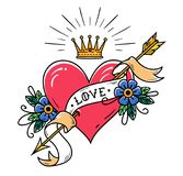 Tattoo heart pierced by gold arrow with ribbon , flowers and radiant gold crown. Old school tattoo. Royalty Free Stock Photos