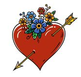 Tattoo Heart pierced with gold arrow. Red heart decorated with flowers. Tattoo isolated on white background. Tattoo Heart pierced with gold arrow. Red heart Royalty Free Stock Photos