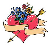 Tattoo heart pierced by gold arrow with ribbon and flowers. Tape wraps around the heart. Old school tattoo. Stock Photo