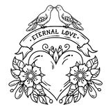 Tattoo heart with roses, leaves, ribbon and doves. Lettering Eternal Love on ribbon. Two doves sit on ribbon and kiss. Balck and white illustration for Stock Photography
