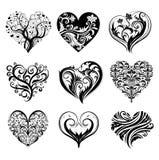 Tattoo hearts. Set of 9 tattoo hearts, vector image Royalty Free Stock Photo