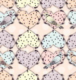 Tattoo hearts and birds seamless pattern Royalty Free Stock Photography
