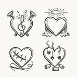 Tattoo hearts. Hand drawn heart icons vector illustration. Angel of music, needle and bullets isolated on white Royalty Free Stock Images